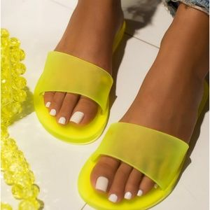 Neon Yellow Jelly Slip- On Sandals